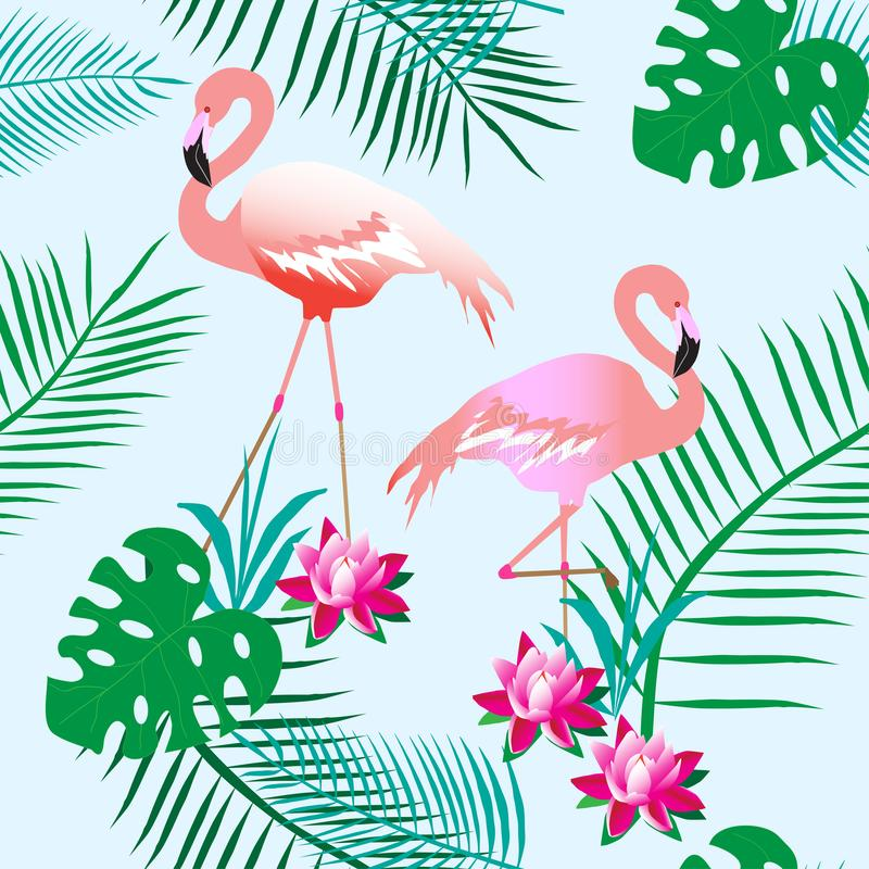 Charming pink flamingos. Tropical plants. Light background. Seamless pattern. Can be used for material, paper. stock illustration