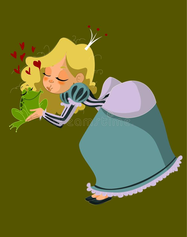 Charming princess and frog stock images
