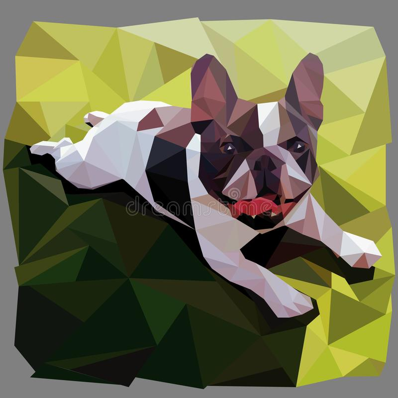 French bulldog smiles lying on grass in low poly style vector graphic. Charming puppy of french bulldog is resting on the grass and smiling showing tongue stock illustration