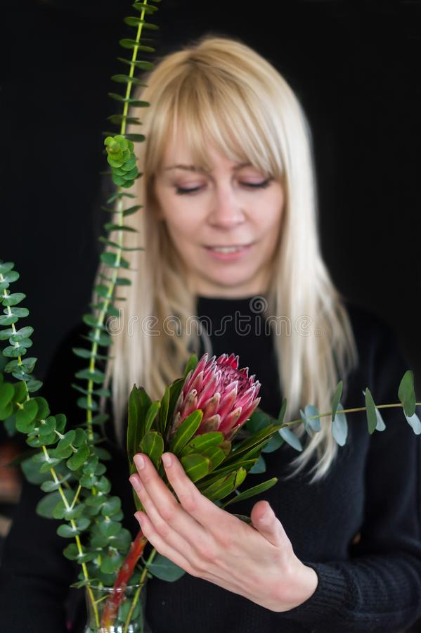 Charming romantic woman with blonde long hair holds red protea on black background. stock image