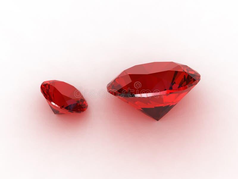 Charming ruby gemstone pair. 3D royalty free illustration