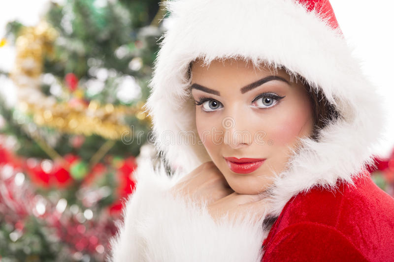 Charming Santa girl stock image