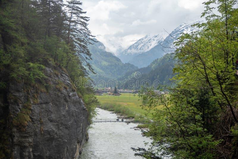Charming scene uit aare River tussen kliff en verse groene bomen in Aare gorgeAareschlucht stock foto