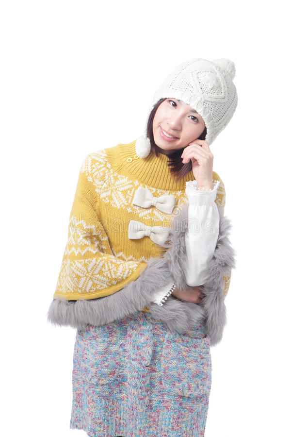 Charming smile of young girl in sweater stock image