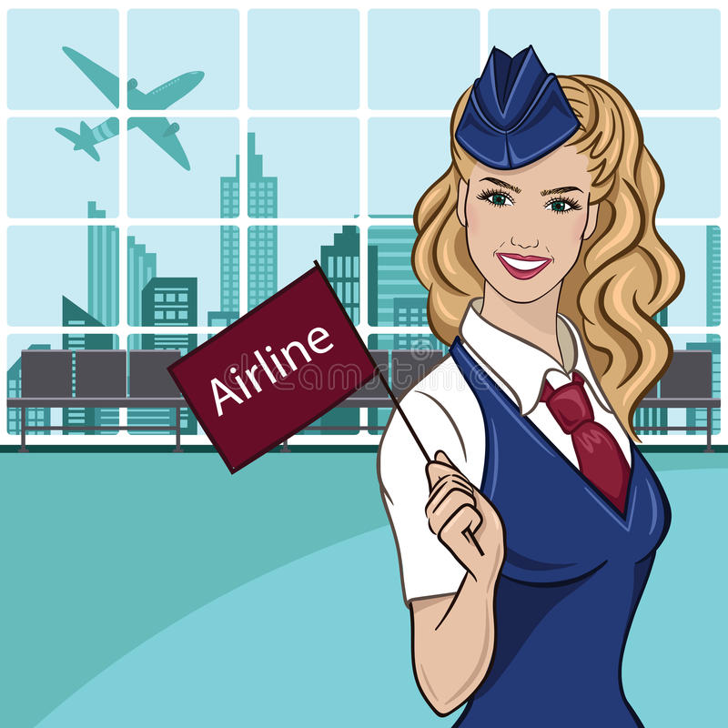 Charming stewardess dressed in blue uniform royalty free stock photography