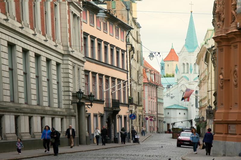 Charming streets and houses of Old Riga royalty free stock image