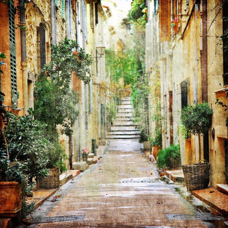 Charming streets of mediterranian stock photos