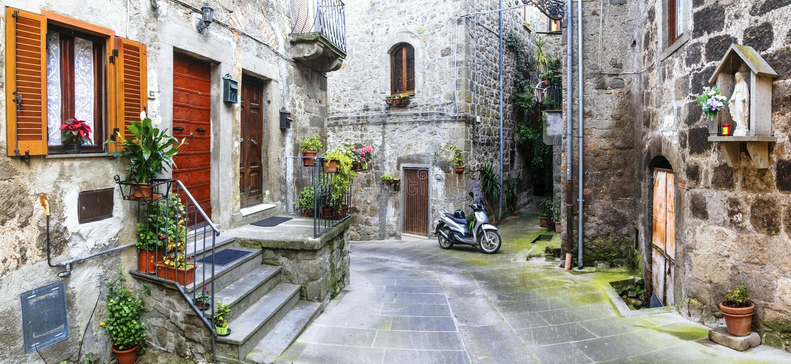Charming streets of old italian villages. Vitorchiano stock photo