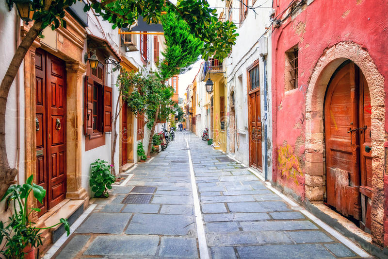 Charming streets of old town in Rethymno. Crete island, Greece royalty free stock photos