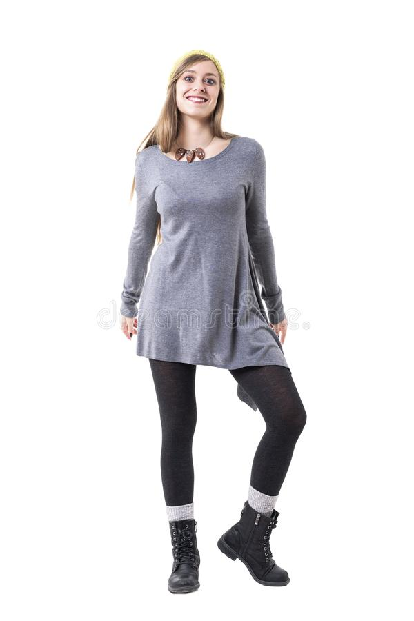 Charming stylish authentic young happy hipster woman in alternative fashion style posing and smiling. royalty free stock images