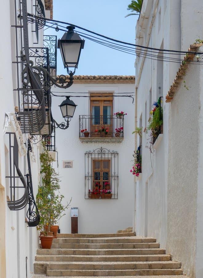 Charming white village Altea in Costa Blanca Spain. Altea benidorm costa blanca brava espaa spain summer alicante architecture background beautiful blue sky royalty free stock photo