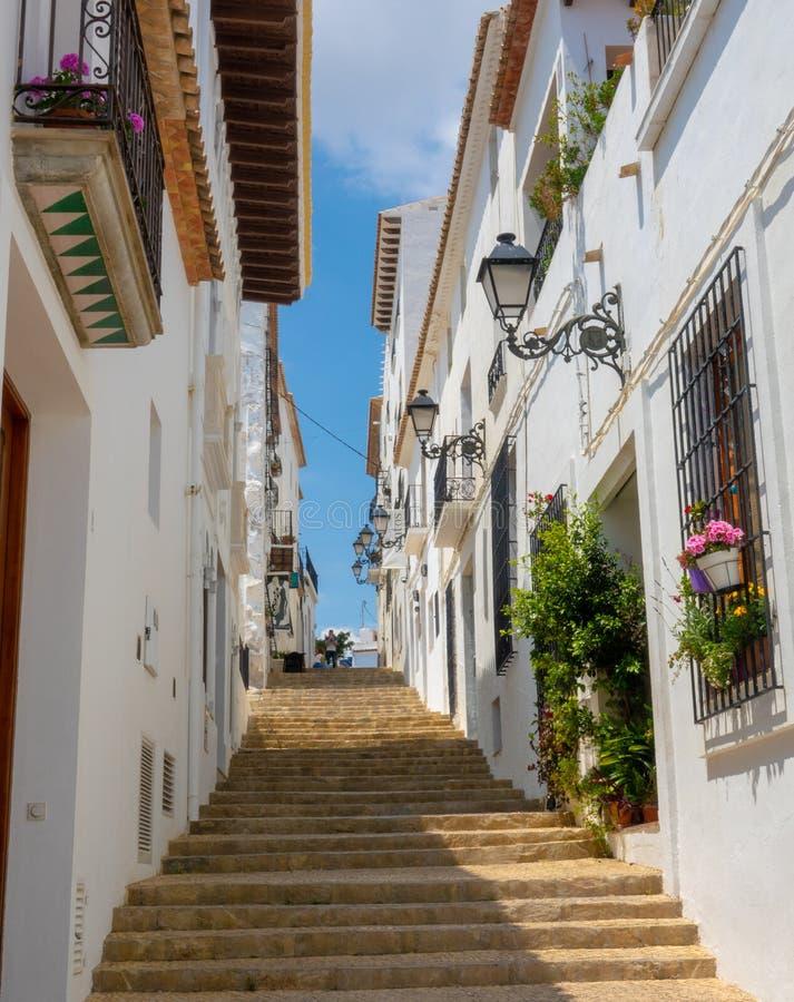 Charming white village Altea in Costa Blanca Spain. Altea benidorm costa blanca brava espaa spain summer alicante architecture background beautiful blue sky stock image