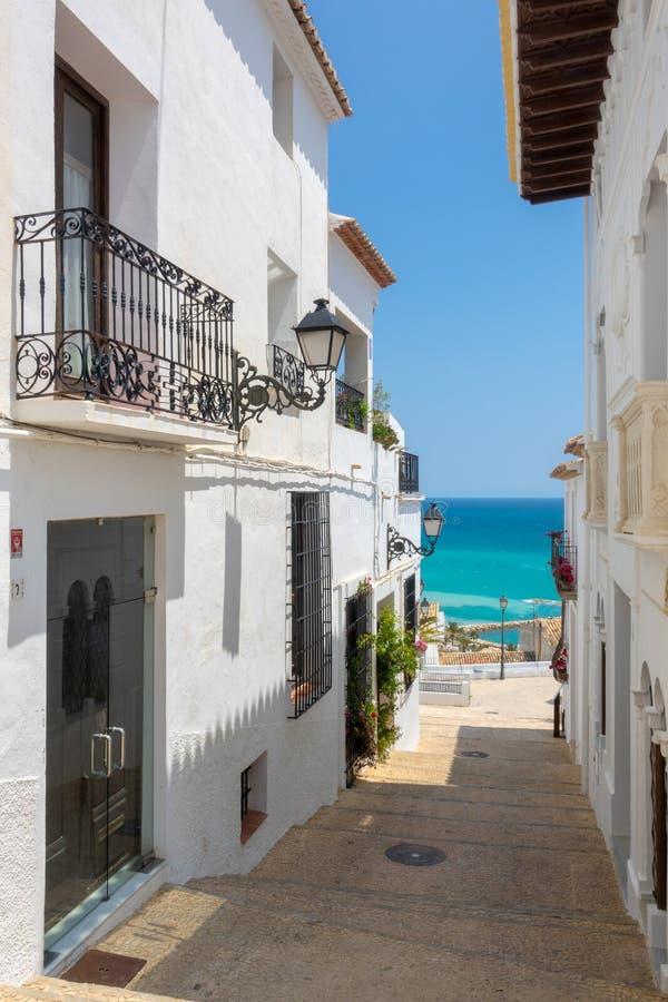 Charming white village Altea in Costa Blanca Spain. Altea benidorm costa blanca brava espaa spain summer alicante architecture background beautiful blue sky stock photo
