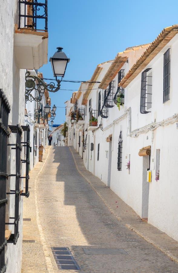 Charming white village Altea in Costa Blanca Spain. Altea benidorm costa blanca brava espaa spain summer alicante architecture background beautiful blue sky stock photography