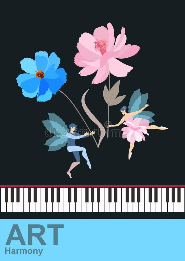 Charming winged fairy and elf dancing with large flowers-musical notes over the piano keys isolated on a black background. Music. Banner. Vector illustration vector illustration