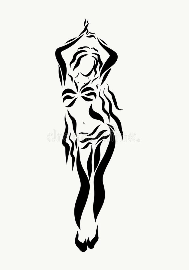 A charming woman dancing an oriental dance stock illustration