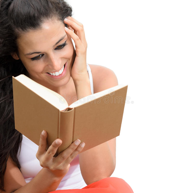 Charming woman reading book isolated royalty free stock photo