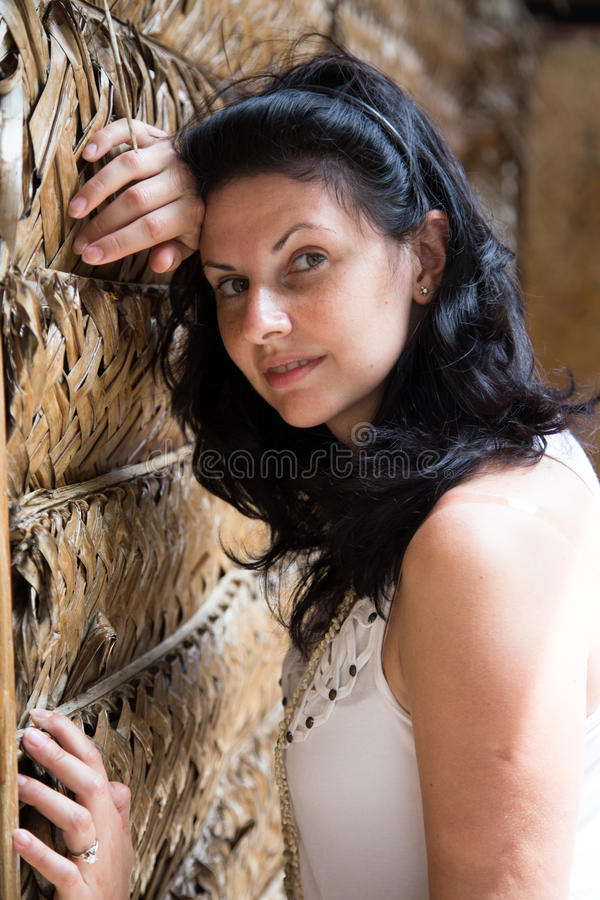 Charming young brunette royalty free stock photography