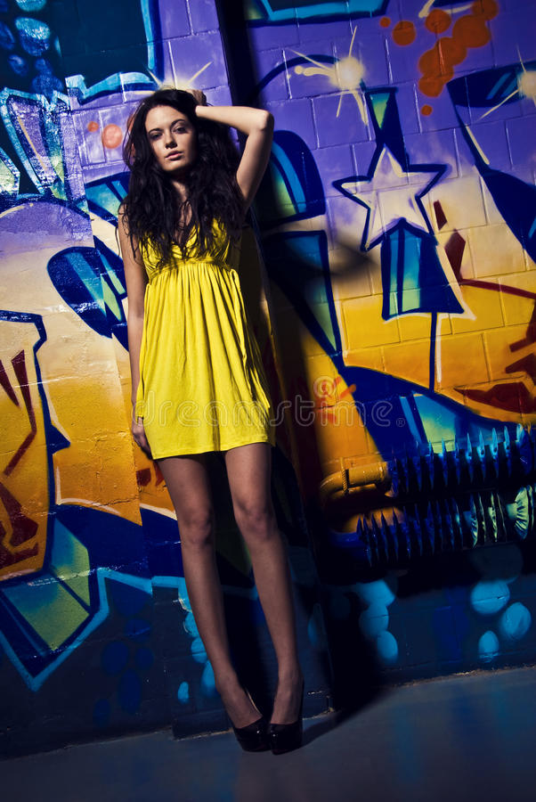Download Charming Young Model And The Graffity Stock Image - Image of color, brick: 15440497