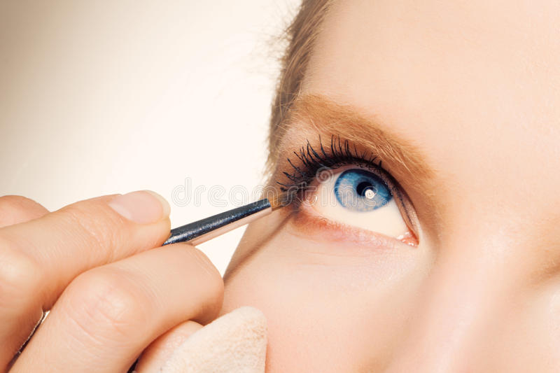 Download Charming Young Woman Applying Blusher Eyelid Stock Image - Image: 17519251