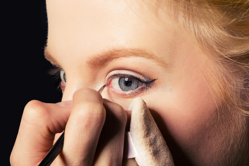 Download Charming Young Woman Applying Blusher Eyelid Stock Photo - Image of face, eyelashes: 17551832