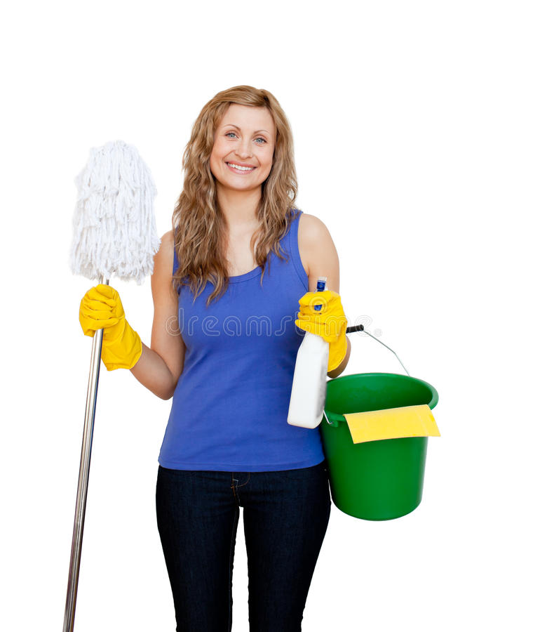 Download Charming Young Woman Holding A Mop Stock Photo - Image: 15437882