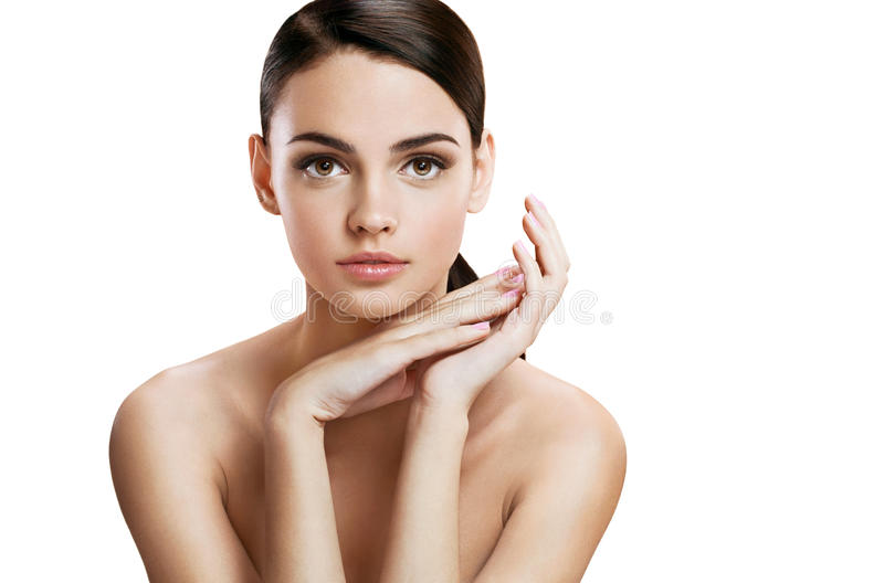 Charming young woman with perfect makeup, skin care concept royalty free stock photos