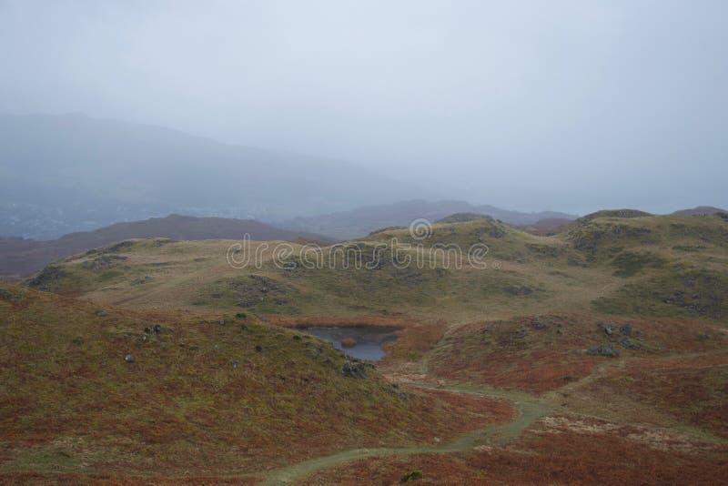 Charneca de rolamento com lago pequeno tarn: típico distrito inglês de Grâ Bretanha norte - lago fotografia de stock