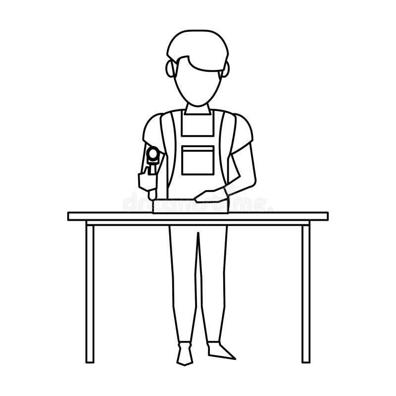 Charpentier travaillant avec la planche en bois en noir et blanc illustration de vecteur