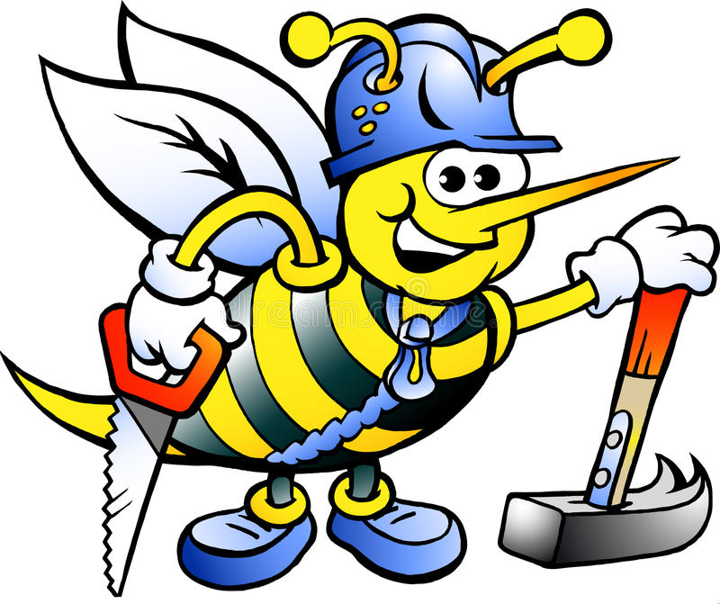 Charpentier travaillant heureux Bee illustration stock