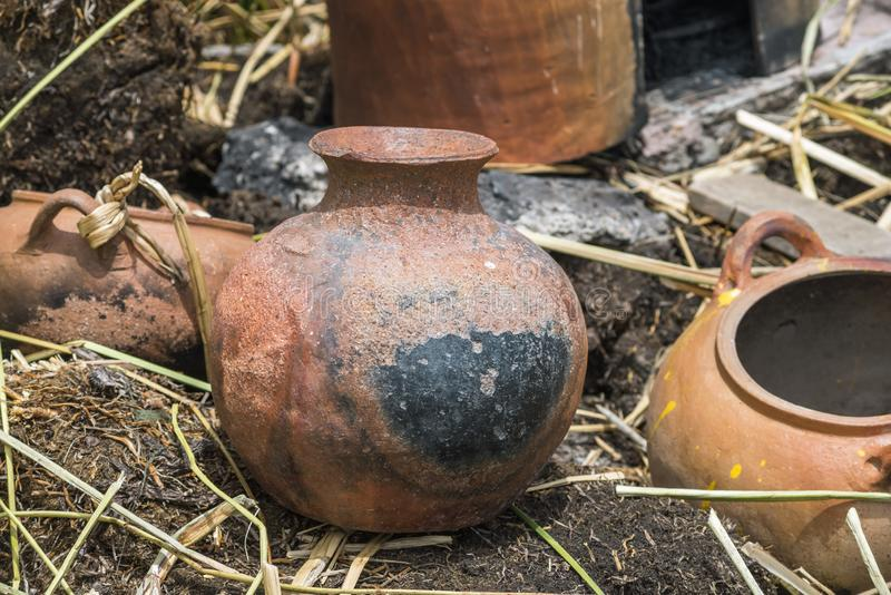 Charred clay pot. From floating Uros islands of lake Titicaca in Peru stock images