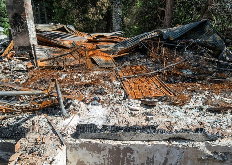 House fire remains royalty free stock image