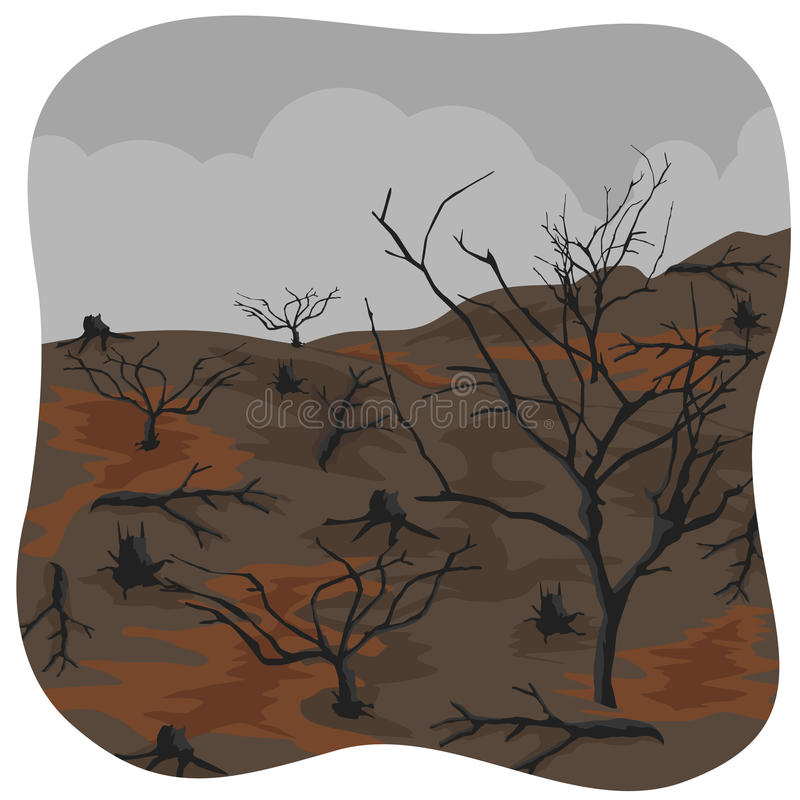 Charred trees after forest fire vector illustration
