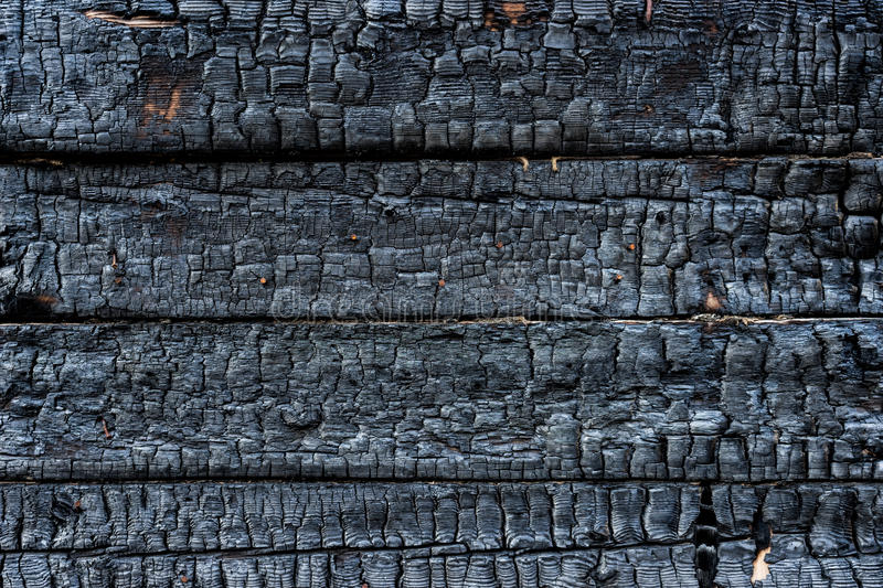 Charred wood. Charred black wood with rusty nails in it stock image