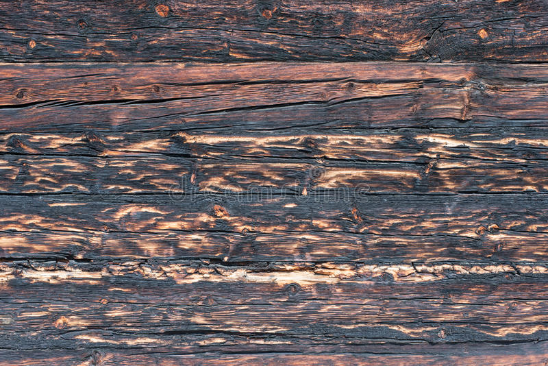 Charred Wood Texture. On an old barn in Switzerland royalty free stock images
