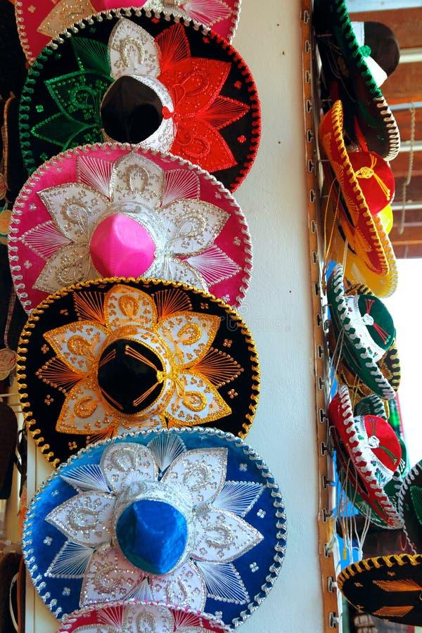 charro五颜六色的帽子墨西哥流浪乐队墨# 免版税库存照片
