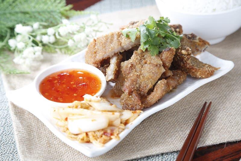 Charsiu chinois de porc du plat blanc image libre de droits