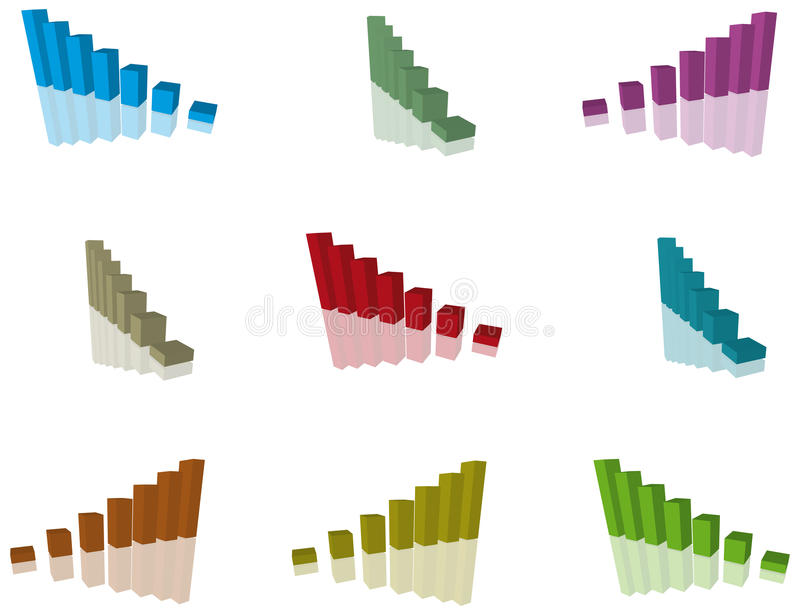 Chart. 3d multicoloured chart on a white background royalty free illustration