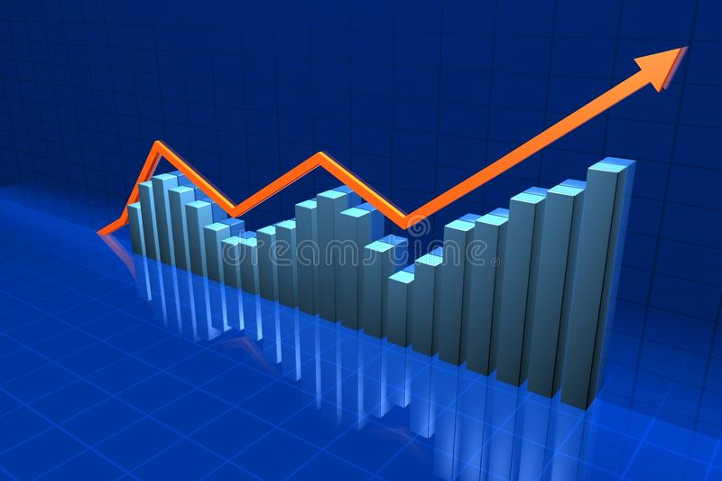 Chart. 3D Chart in the blue background vector illustration