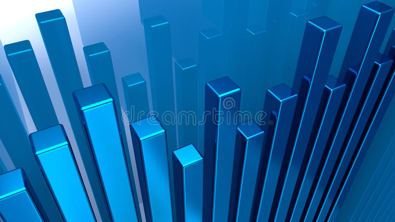 Chart. From blue matal columns stock illustration