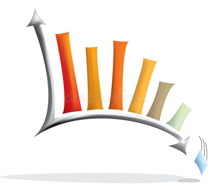 Chart. Statistic chart in 3d with the lowest stat falling from the chart royalty free illustration