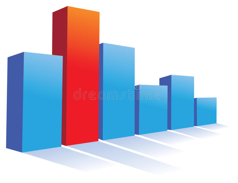 Chart. A blue and red chart background royalty free illustration