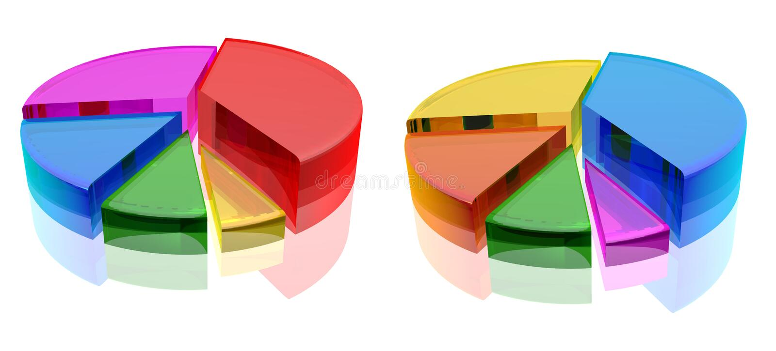 Chart. Illustration of 3d pie chart. 3D chart render royalty free illustration