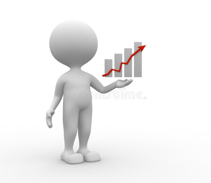 Chart. 3d people - man, person and a chart royalty free illustration