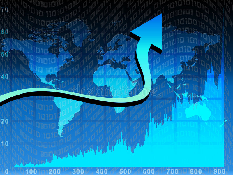 Chart. And arrow over blue world map background stock illustration