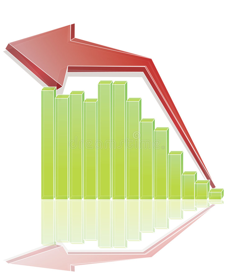 Chart. Colorful vector growth chart and acceding arrow royalty free illustration