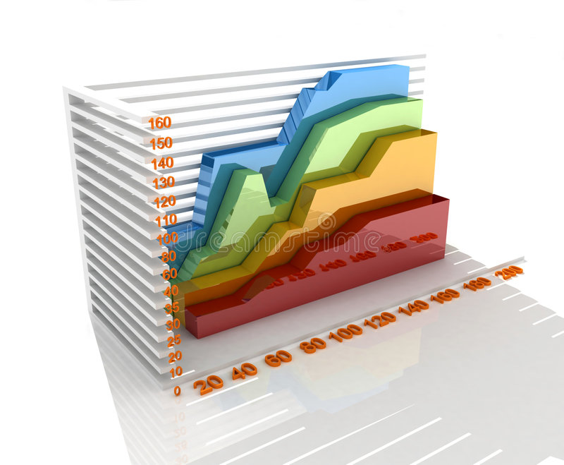 Chart. Colorful render growth chart and acceding arrow vector illustration