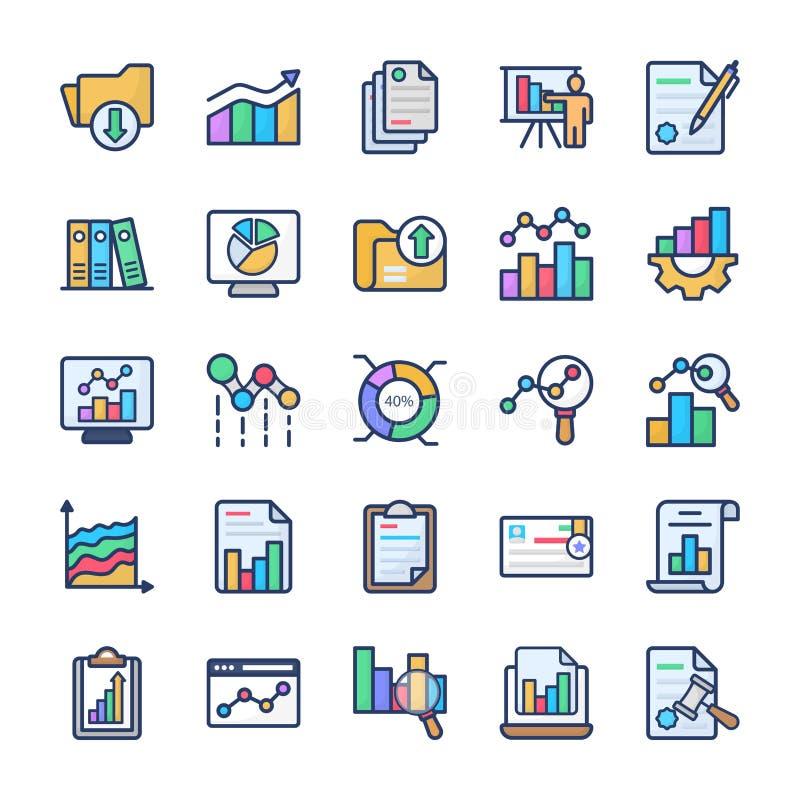 Chart Analysis Flat Icons Pack stock illustration