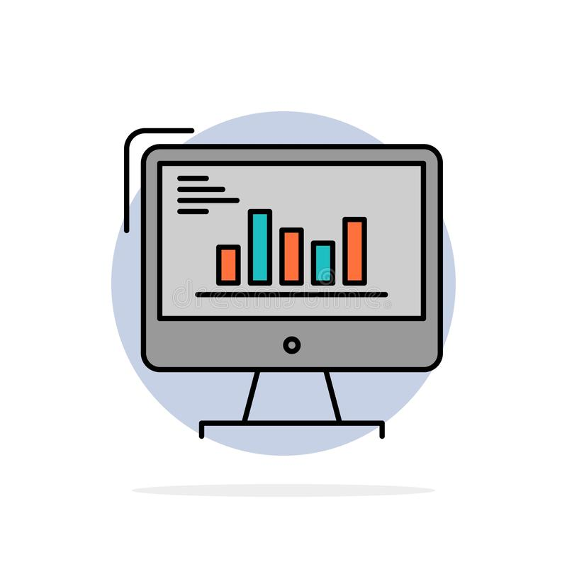 Chart, Analytics, Business, Computer, Diagram, Marketing, Trends Abstract Circle Background Flat color Icon royalty free illustration
