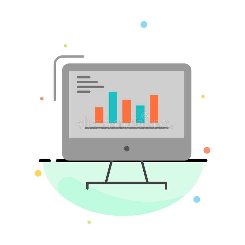 Chart, Analytics, Business, Computer, Diagram, Marketing, Trends Abstract Flat Color Icon Template vector illustration